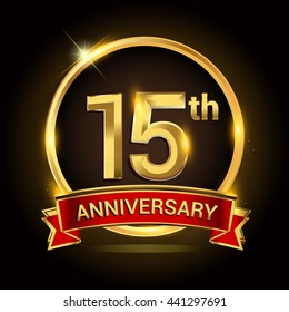 15th golden anniversary logo with ring and red ribbon isolated on black background, vector design for birthday celebration, marriage, corporate, and your business.
