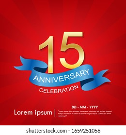 15th years anniversary celebration emblem. anniversary elegance golden logo with blue ribbon on red background, vector illustration template design for web, flyers, greeting card & invitation card