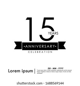 15th years anniversary celebration emblem. elegance golden anniversary logo isolated wih rings on black background, vector illustration template design for web, flyers, greeting card & invitation card