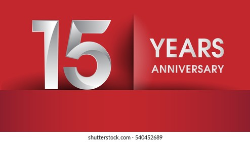 15th Years Anniversary celebration logo, flat design isolated on red background, vector elements for banner, invitation card and birthday party.