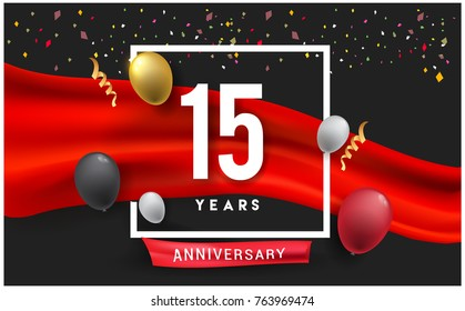 15th years Anniversary celebration logo, isolated on red ribbon and balloon, vector elements for banner, invitation card and birthday party.