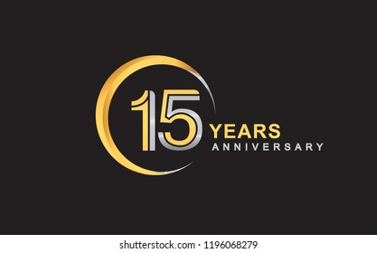 15th years anniversary golden and silver color with circle ring isolated on black background for anniversary celebration event