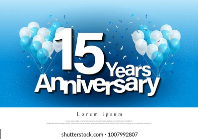 15th years anniversary greeting card lettering template with balloon and confetti. Design for invitation card, banner, web, header and flyer. vector illustrator