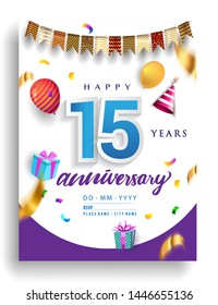 15th Years Anniversary invitation Design, with gift box and balloons, ribbon, Colorful Vector template elements for birthday celebration party.