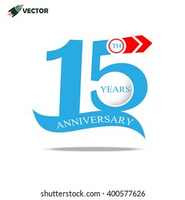 15th years anniversary label and sign with ribbon, vector and illustration