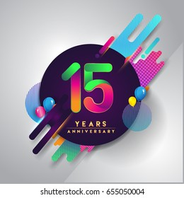15th years Anniversary logo with colorful abstract background, vector design template elements for invitation card and poster your fifteen birthday celebration