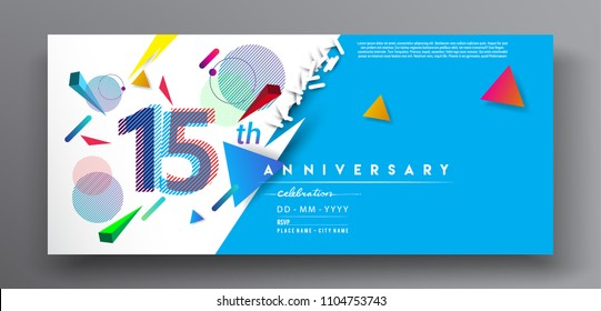 15th years anniversary logo, vector design birthday celebration with colorful geometric background and circles shape.