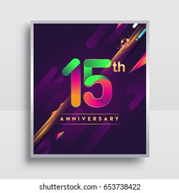 15th years anniversary logo, vector design for invitation and poster fifteen years birthday celebration with colorful abstract background isolated on white background.