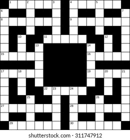15x15 squares empty British-style crossword grid for 30 words with numbers. Vector illustration.