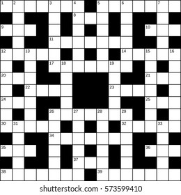 15x15 squares empty British-style crossword grid for 39 words with numbers. Vector illustration.