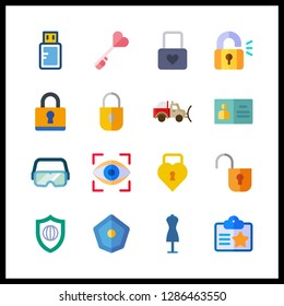 16 access icon. Vector illustration access set. security system and key icons for access works