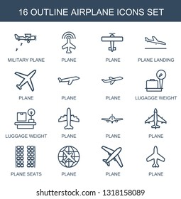 16 airplane icons. Trendy airplane icons white background. Included outline icons such as military plane, plane, plane landing,