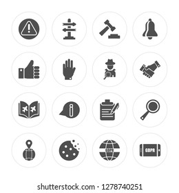 16 Alert, Decision making, Cookie, Address, Transparency, GDPR, Right to objection, Plain, Detective modern icons on round shapes, vector illustration, eps10, trendy icon set.