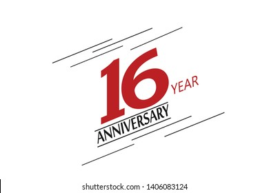 16 anniversary, minimalist logo. 16th jubilee, greeting card. Birthday invitation. 16 year sign. Red space vector illustration on white background - Vector