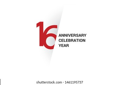 16 anniversary, minimalist logo. 16th jubilee, greeting card. Birthday invitation. year sign. Red space vector illustration on white background - Vector