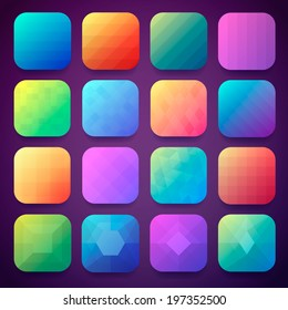 16 App icons background set for mobile device