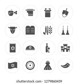 16 Apple and Honey, Tallit, Jewish Bagels, Israel Flag, Solomon Temple In Jerusalem, Shofar, Lamb of God modern icons on round shapes, vector illustration, eps10, trendy icon set.