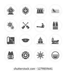 16 Aqualung, Wind rose, Lifesaver, Vest, Yatch, Porthole, Starfish, Map, Pipe modern icons on round shapes, vector illustration, eps10, trendy icon set.