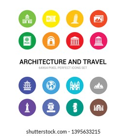 16 architecture and travel vector icons set included milan, moai, moais, monument, mountain, notre dame, outbound, pagoda, pantheon, parthenon, passage icons