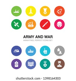 16 army and war vector icons set included lieutenant, medal, militar antique building, militar in, militar radar, radio, ship, tent, military helmet, military knife, military robot machine icons
