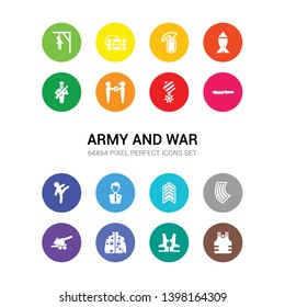 16 army and war vector icons set included bulletproof, bulletproof vest, camouflage military clothing, cannon, chamber, chevrons, civilian, combat, combat knife, condecoration, conscription icons