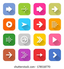 16 arrow icon set 01 (white sign on color). Rounded square web button on white background. Simple minimalistic mono flat long shadow style. Vector illustration internet design graphic element 10 eps