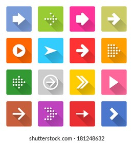 16 arrow icon set 01 (white sign on color). Square web button on white background. Simple minimalistic mono flat long shadow style. Vector illustration internet design graphic element 10 eps