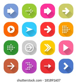 16 arrow icon set 01 (white sign on color). Strong rounding corners square web button on white background. Simple flat long shadow style. Vector illustration internet design graphic element 10 eps