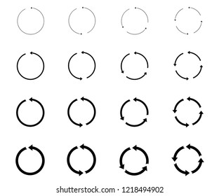 16 arrow pictogram refresh reload rotation loop sign set. Vector circle arrows for infographic. circular arrows. Simple web icon on white background. Modern contemporary solid plain flat minimal style