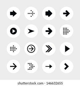 16 arrow sign icon set 01. Black pictogram on white circle button. Solid plain monochrome flat tile. Simple contemporary modern style. Web design element vector illustration save in 8 eps