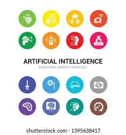16 artificial intelligence vector icons set included 360 degrees, ai, ai brain, ai grid, ar camera, ar glasses, ar monocle, wand, artificial atmosphere, artificial intelligence, wireless charging