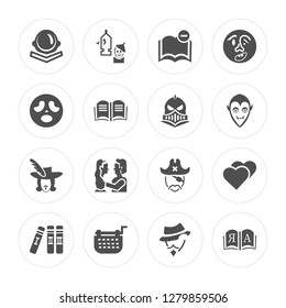 16 Astronaut, Wizard of oz, Typewriter, Books, Love, Open book, Scream, Three musketeers, Knight modern icons on round shapes, vector illustration, eps10, trendy icon set.