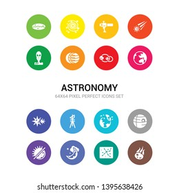 16 astronomy vector icons set included comet, constellation, crescent moon, day and night, death star, destroyed planet, dioptra, double star, earth, eccentricity, eclipse icons