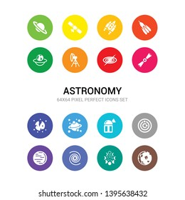 16 astronomy vector icons set included moon, moon phases, nebula, neptune, orbit, planetarium, planets, pluto, pulsar, quasar, reflector icons