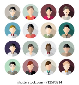 16 Avatars. Only men heads in flat style. Vector illustration in the circle. Business style people.