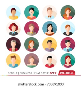16 Avatars, women, and men heads in flat style. Vector illustration in the circle. Business cartoon style people.