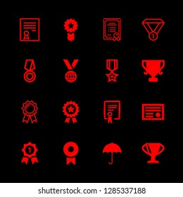 16 award icons with trophy and ribbon badge in this set