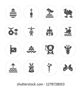16 Ball, Circus Llama, Rabbit in the Hat, Ring, Giraffe, Big Bow, Bycicle, Flag, Bear modern icons on round shapes, vector illustration, eps10, trendy icon set.