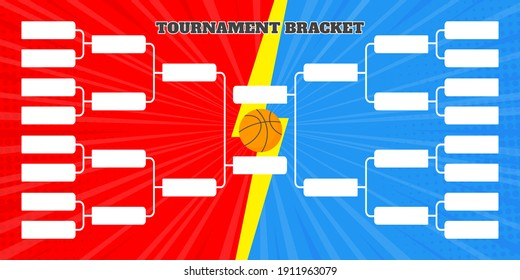 16 basketball team tournament bracket championship template flat style design vector illustration isolated on white background. Championship bracket schedule for basketball game spreadsheet.