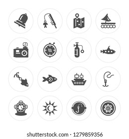 16 Big Bell, Fishing Rod, Sun Shining, Diving Helmet, Double Bait, Starfish, Water Resist Camera modern icons on round shapes, vector illustration, eps10, trendy icon set.