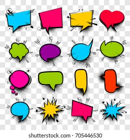 16 Big set picture blank template pop art style comic text speech bubble halftone dot background. Comics book dialog empty cloud, space cartoon box pop-art. Creative idea conversation sketch explosion
