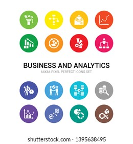 16 business and analytics vector icons set included data analytics, data analytics circular, data flow, wave, database analysing, database interconnected, deal, debt, department head, depleting