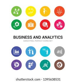 16 business and analytics vector icons set included round value chart, search analytics, service, setting flow interface, sine waves analysis, solution, speech, statistics, stock data analysis,