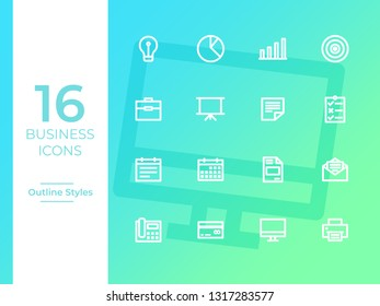 16 Business Icons, Business symbol. Outline Icons with gradient background perfect for web,mobile apps, presentation