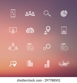 16 business transparent icons on blur background vector illustration, eps10, easy to edit