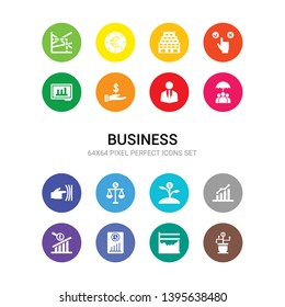 16 business vector icons set included dividend yield, dow jones industrial average, ebit, ebitda, earnings per share (eps), economic growth, economies of scale, elasticity, endowment policy,