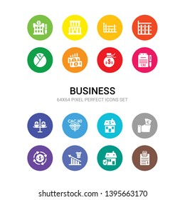 16 business vector icons set included budget, buildings insurance, bull market, business cycle, buy-out, buy-to-let mortgage, cac 40 index, carry trade, cbi industrial trends, capital account,