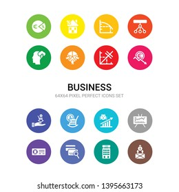 16 business vector icons set included cit crunch, cit default swaps, cit reference agency, current account, day trading, dead cat bounce, defined benefit pension, defined contribution pension,