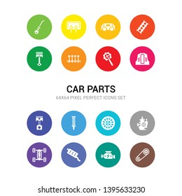 16 car parts vector icons set included car camshaft, car carburettor, catalytic converter, chassis, choke, clutch, coil, connecting rod, cowl, crank, crankshaft icons