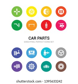 16 car parts vector icons set included car spare wheel, car speedometer, sprocket, starter, steering wheel, sump, sunroof or sunshine roof, suspension, tailgate, tailpipe, torsion bar icons